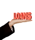 hand with the words loans