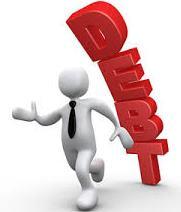 man running from debt